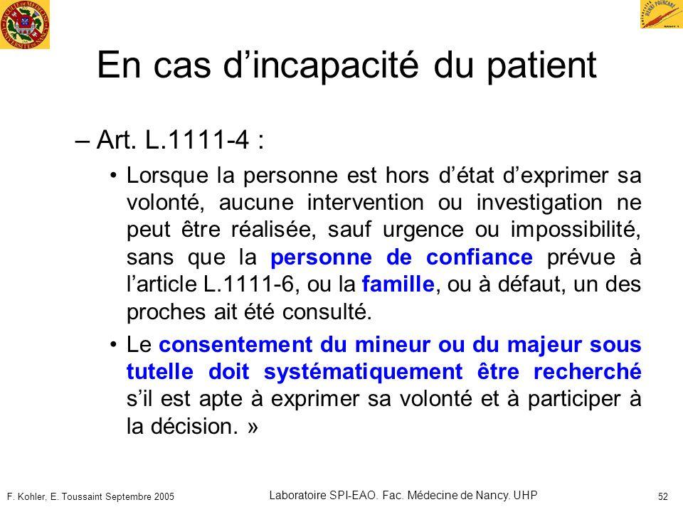 En cas d'incapacité du patient