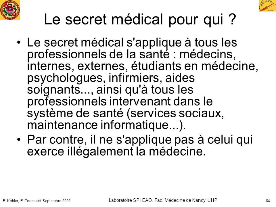 Le secret médical pour qui