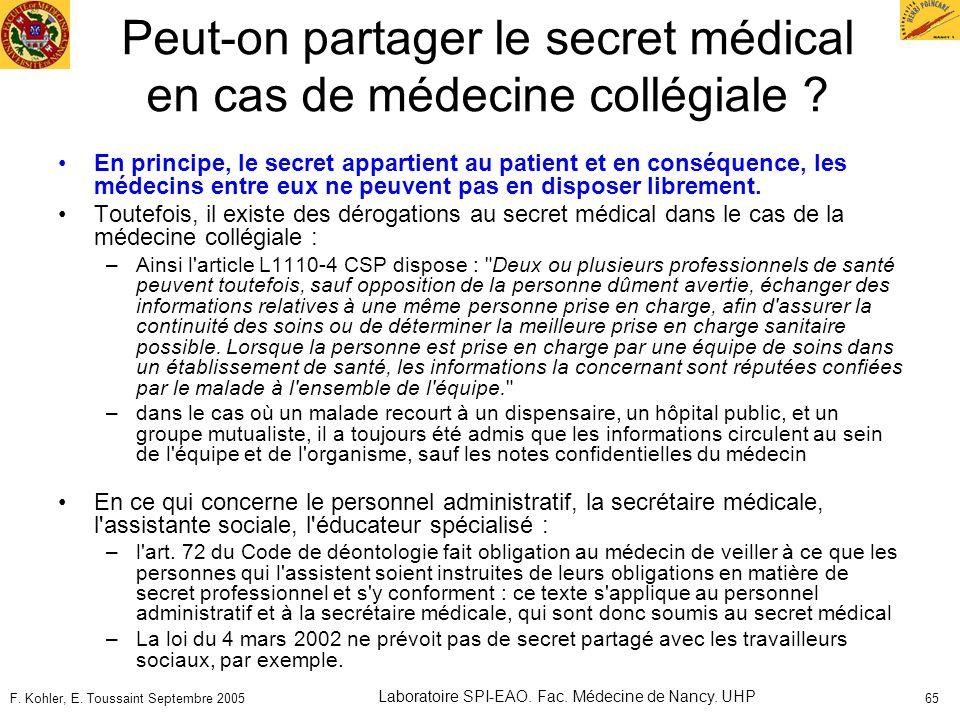 Peut-on partager le secret médical en cas de médecine collégiale