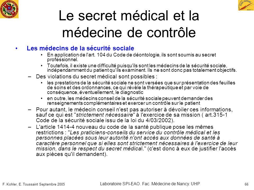 Le secret médical et la médecine de contrôle