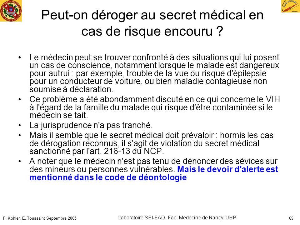 Peut-on déroger au secret médical en cas de risque encouru