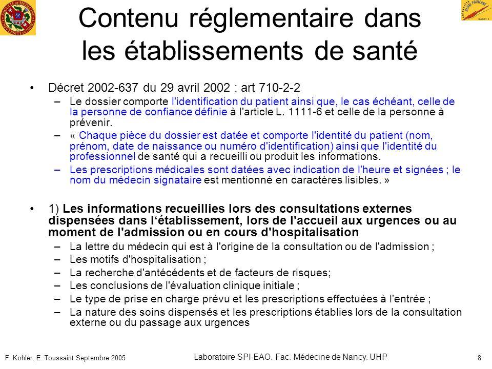 Contenu réglementaire dans les établissements de santé