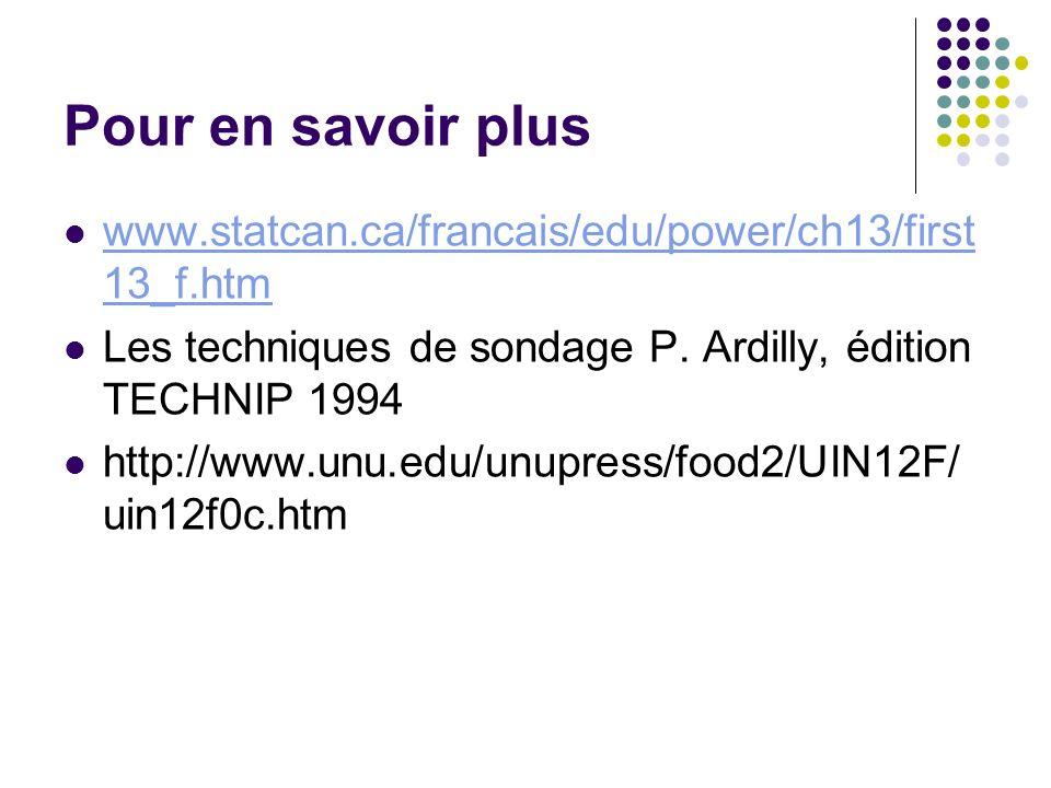 Pour en savoir pluswww.statcan.ca/francais/edu/power/ch13/first13_f.htm. Les techniques de sondage P. Ardilly, édition TECHNIP 1994.