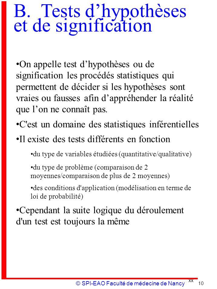 B. Tests d'hypothèses et de signification