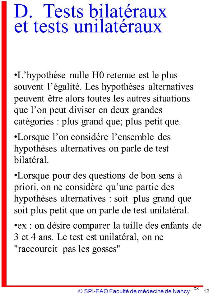 D. Tests bilatéraux et tests unilatéraux
