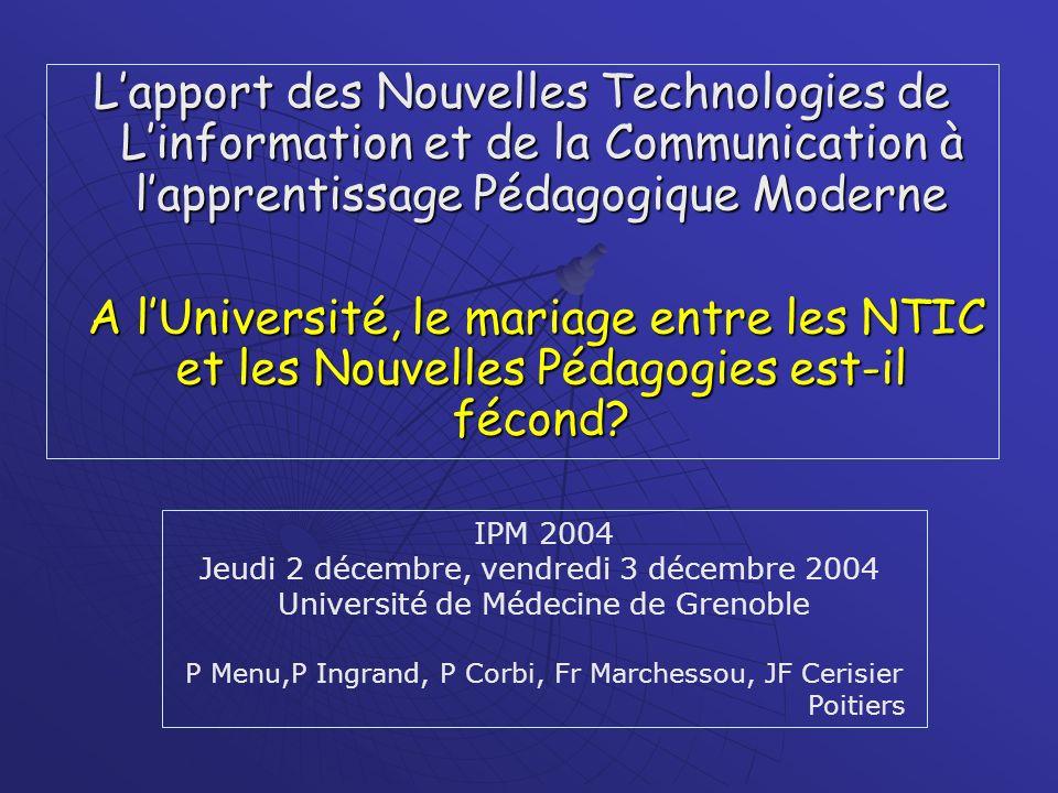 L'apport des Nouvelles Technologies de L'information et de la Communication à l'apprentissage Pédagogique Moderne