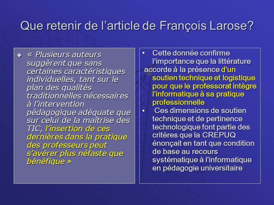 Que retenir de l'article de François Larose