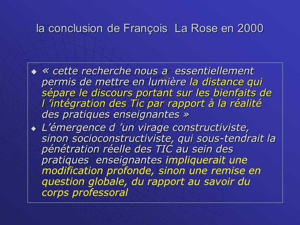 la conclusion de François La Rose en 2000