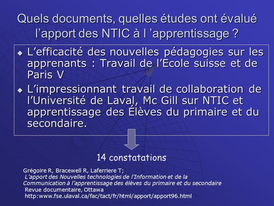 Quels documents, quelles études ont évalué l'apport des NTIC à l 'apprentissage