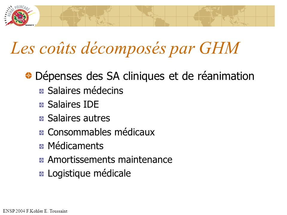 Les coûts décomposés par GHM