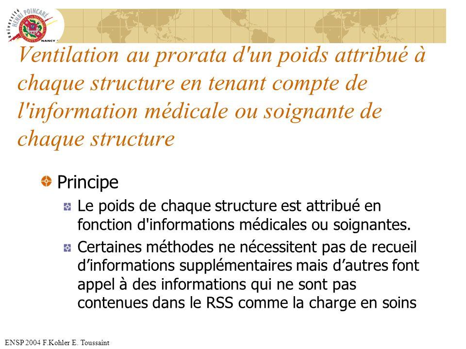 Ventilation au prorata d un poids attribué à chaque structure en tenant compte de l information médicale ou soignante de chaque structure