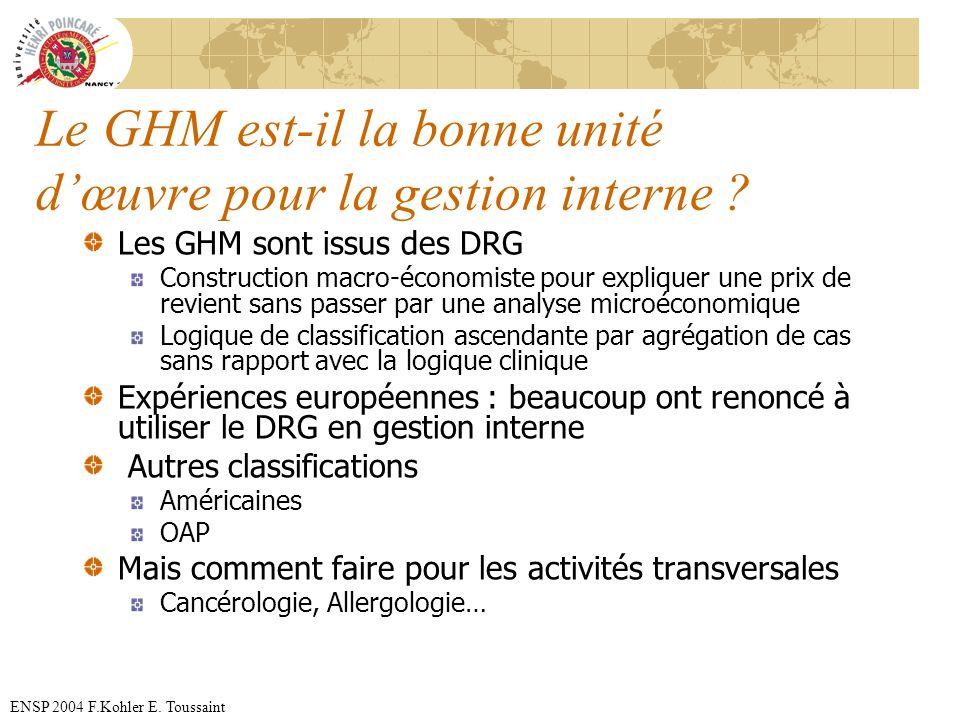 Le GHM est-il la bonne unité d'œuvre pour la gestion interne