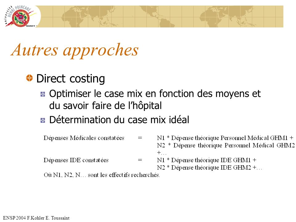 Autres approches Direct costing