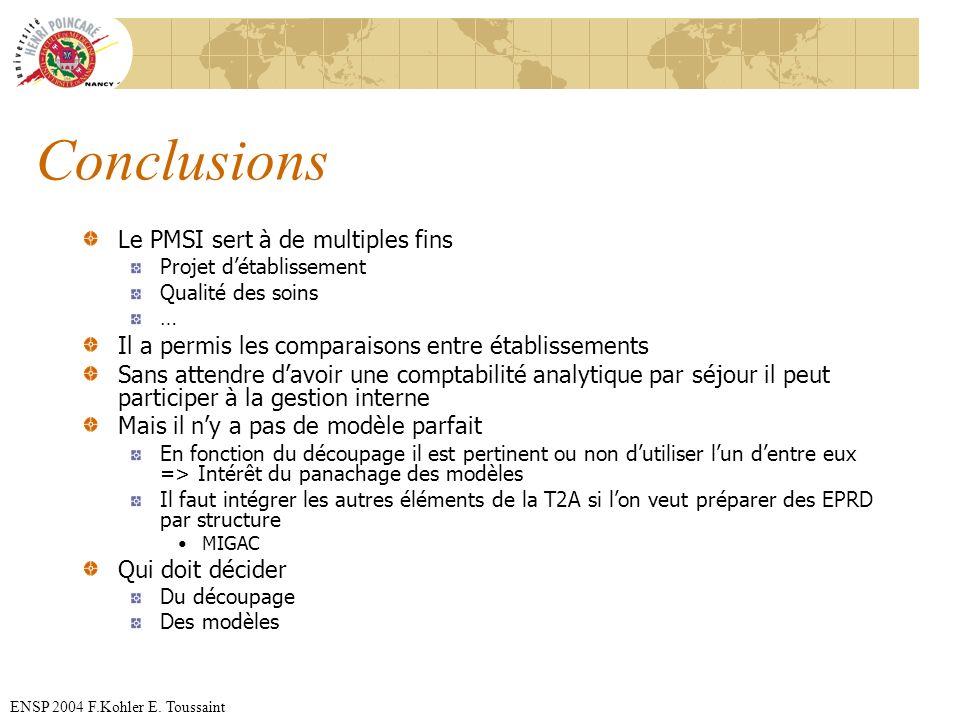 Conclusions Le PMSI sert à de multiples fins