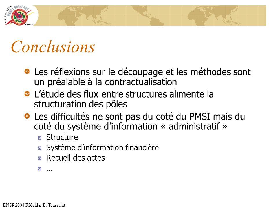 Conclusions Les réflexions sur le découpage et les méthodes sont un préalable à la contractualisation.