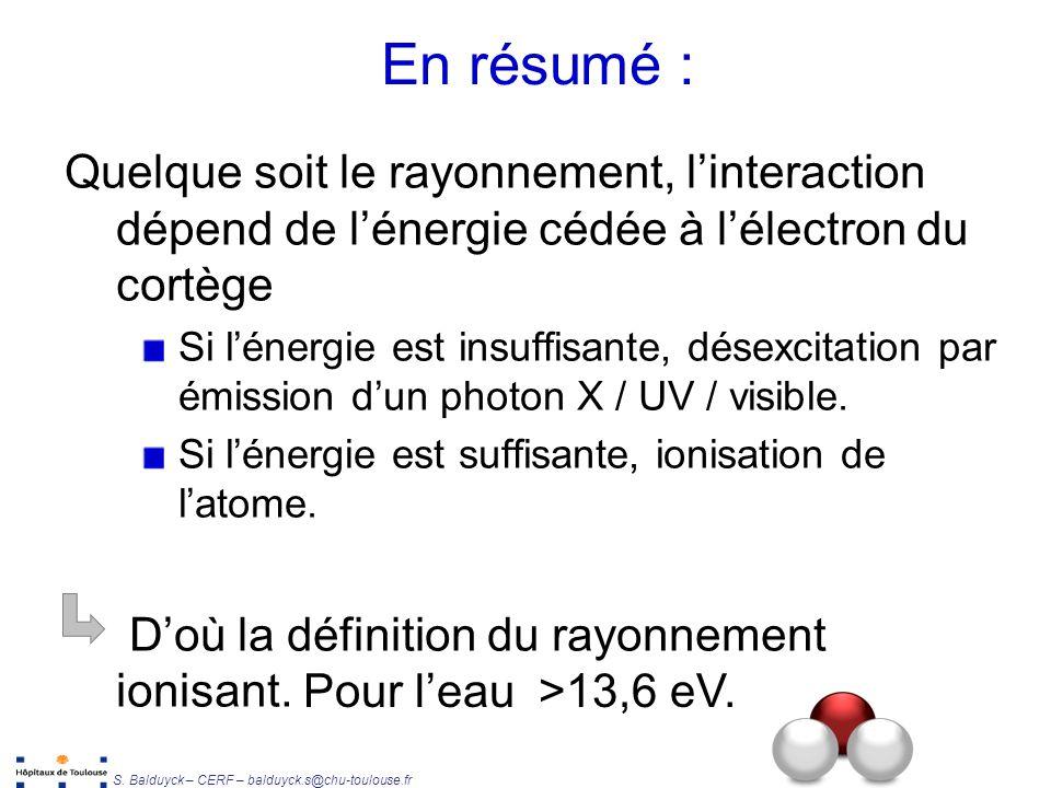 En résumé : Quelque soit le rayonnement, l'interaction dépend de l'énergie cédée à l'électron du cortège.