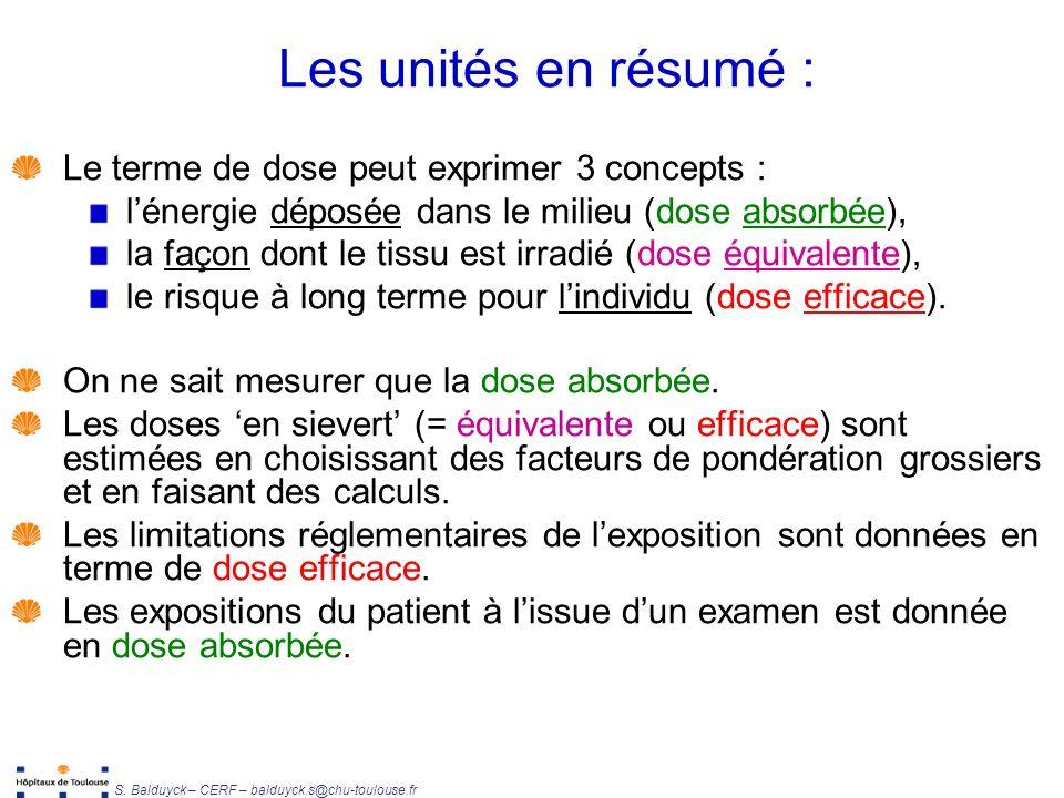 Les unités en résumé : Le terme de dose peut exprimer 3 concepts :