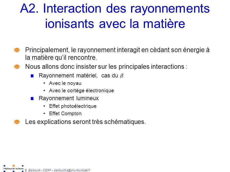 A2. Interaction des rayonnements ionisants avec la matière