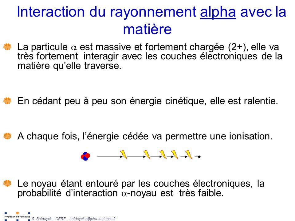 Interaction du rayonnement alpha avec la matière