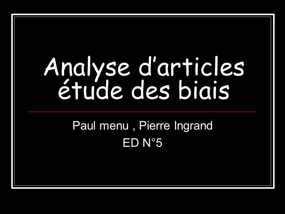 Analyse d'articles étude des biais