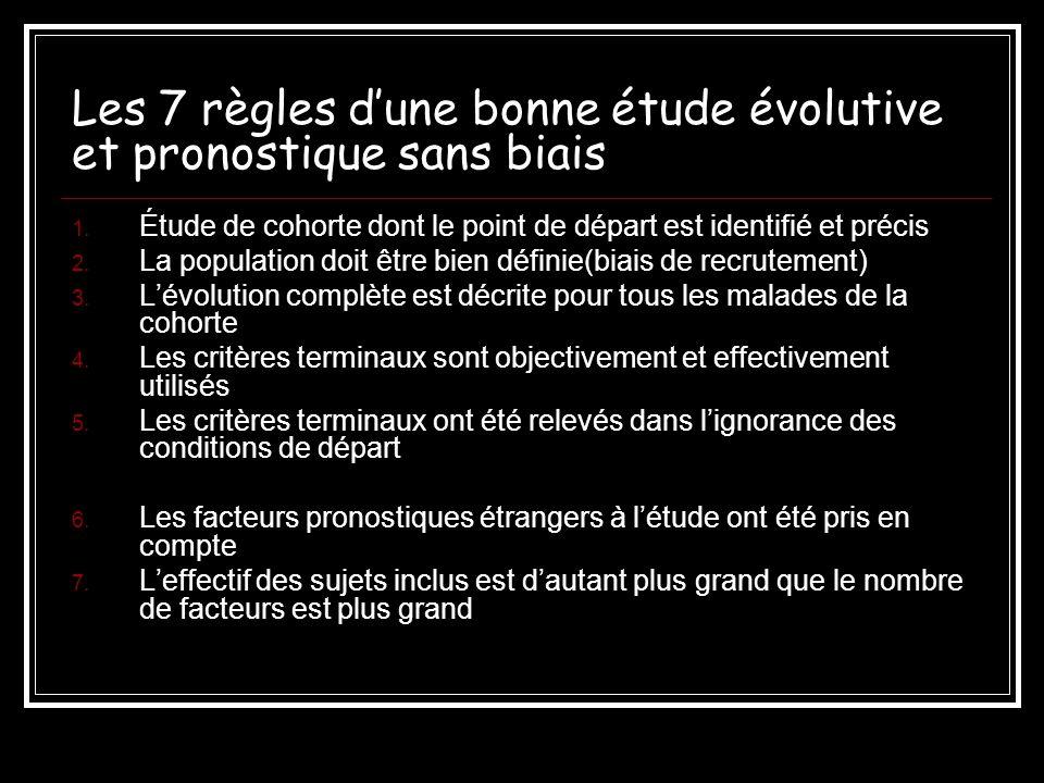 Les 7 règles d'une bonne étude évolutive et pronostique sans biais