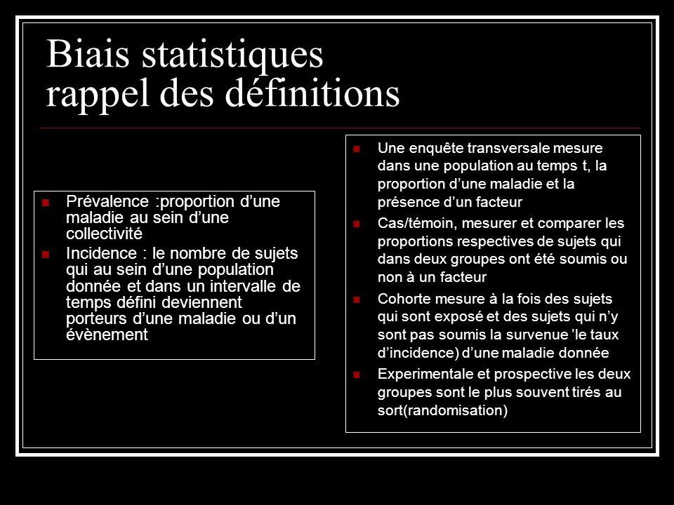 Biais statistiques rappel des définitions