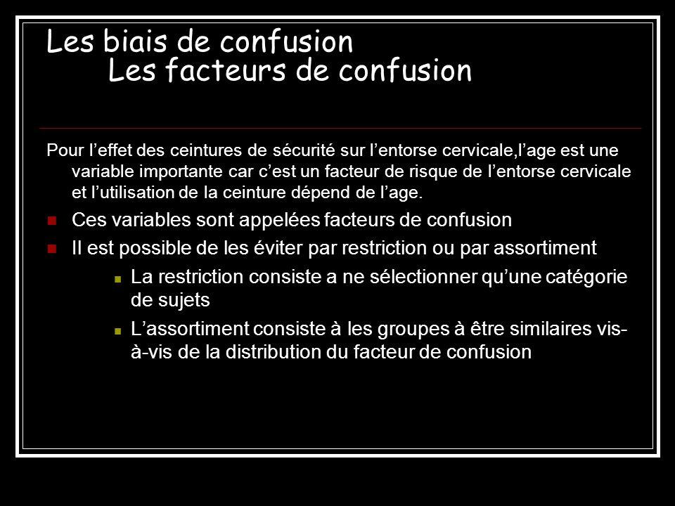 Les biais de confusion Les facteurs de confusion