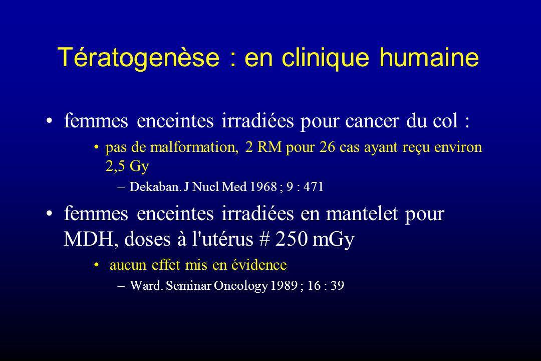 Tératogenèse : en clinique humaine