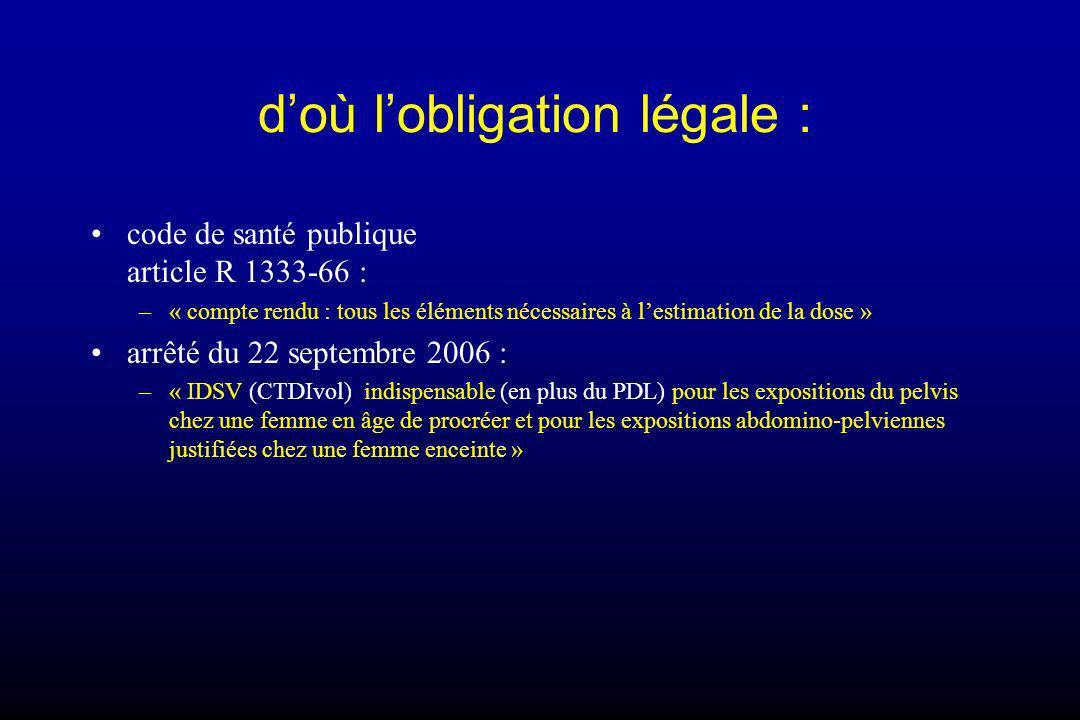d'où l'obligation légale :