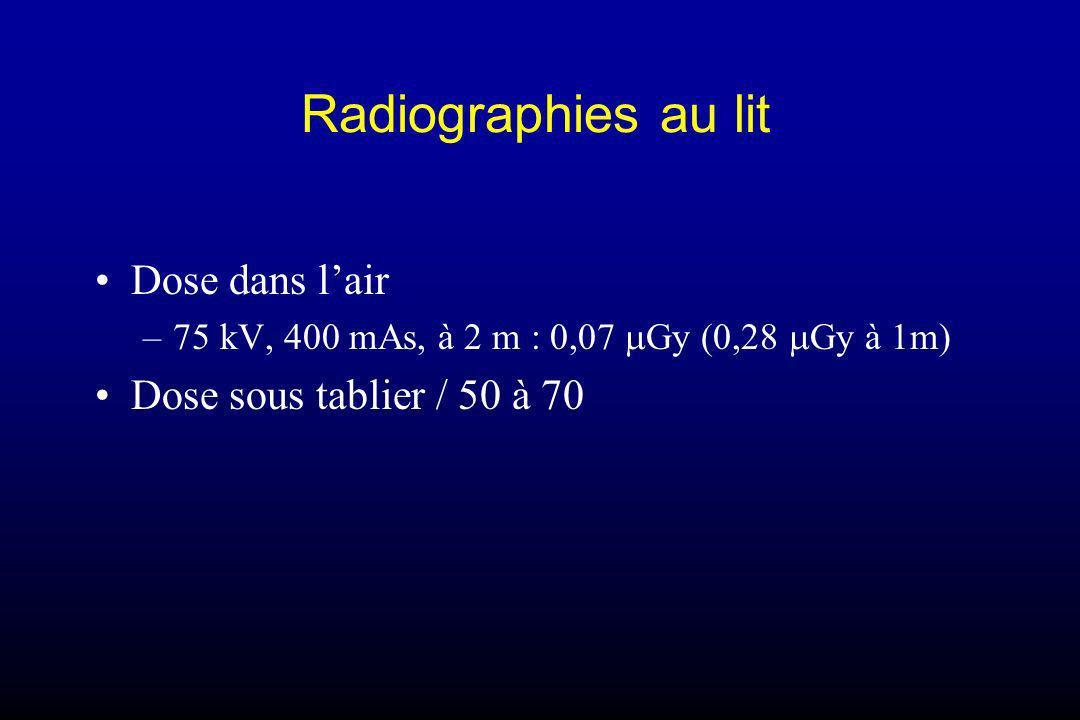 Radiographies au lit Dose dans l'air Dose sous tablier / 50 à 70