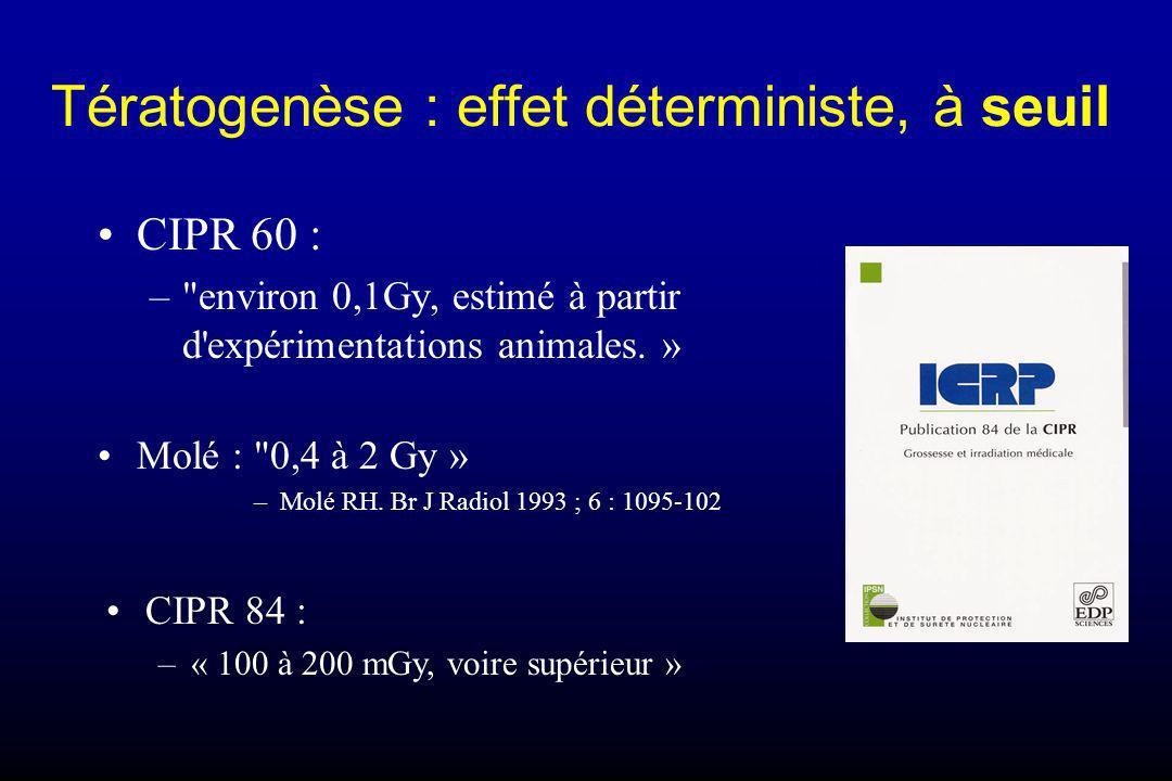Tératogenèse : effet déterministe, à seuil