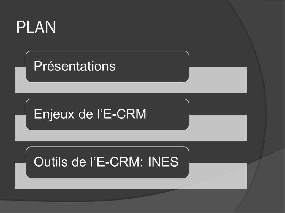 PLAN Présentations Enjeux de l'E-CRM Outils de l'E-CRM: INES