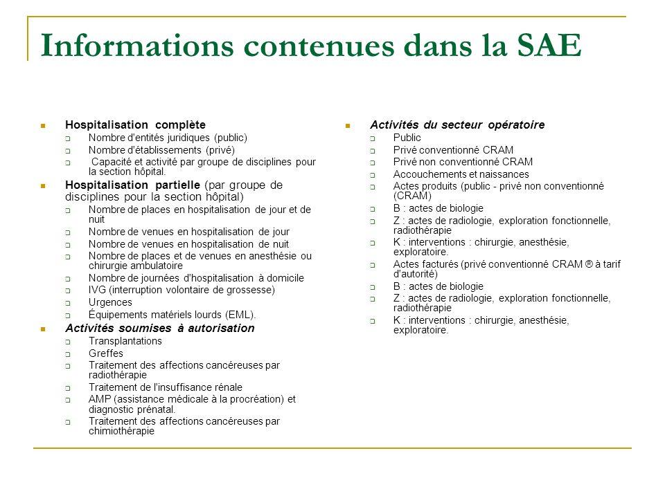 Informations contenues dans la SAE