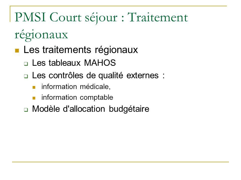 PMSI Court séjour : Traitement régionaux