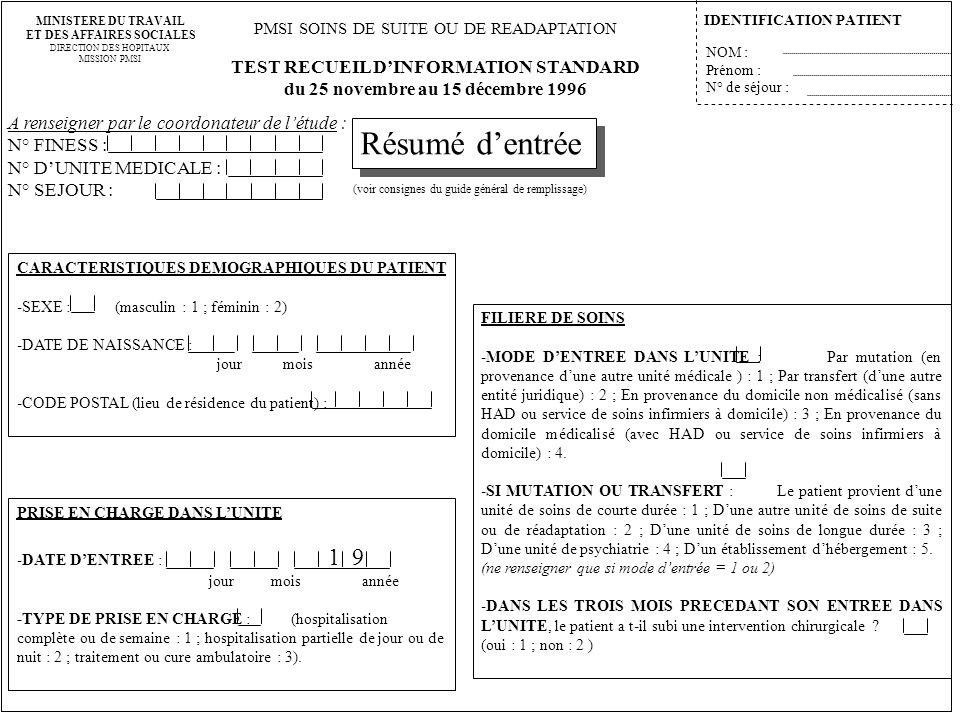 Résumé d'entrée TEST RECUEIL D'INFORMATION STANDARD
