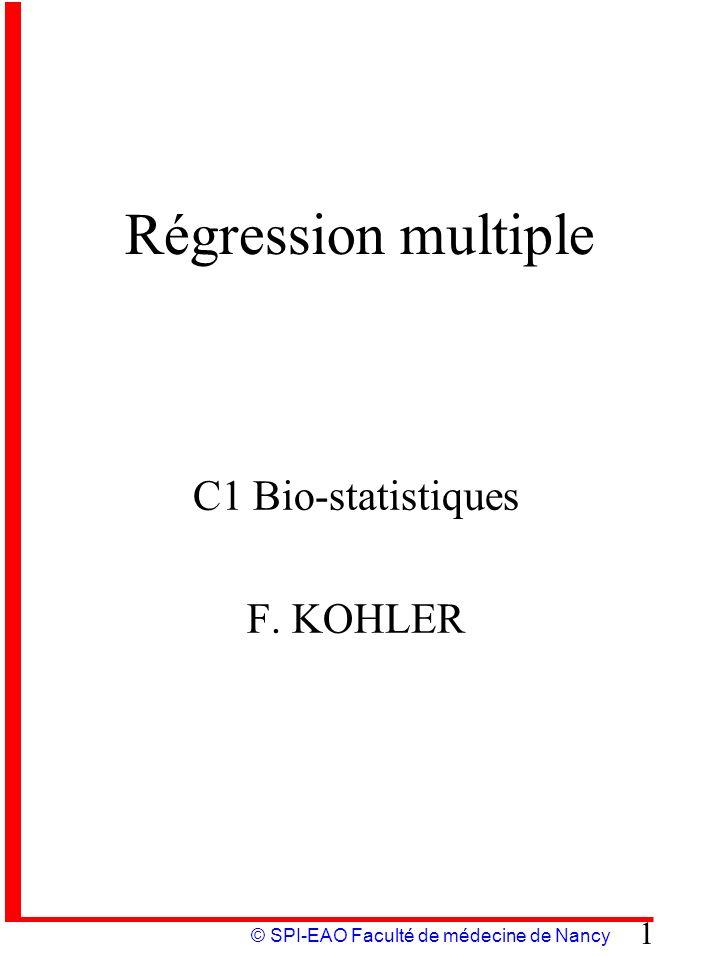 C1 Bio-statistiques F. KOHLER
