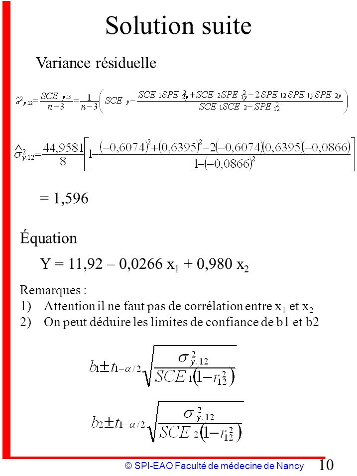Solution suite Variance résiduelle ^ = 1,596 Équation
