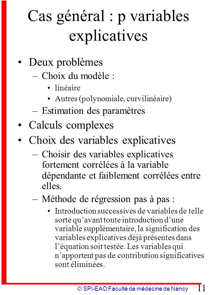 Cas général : p variables explicatives