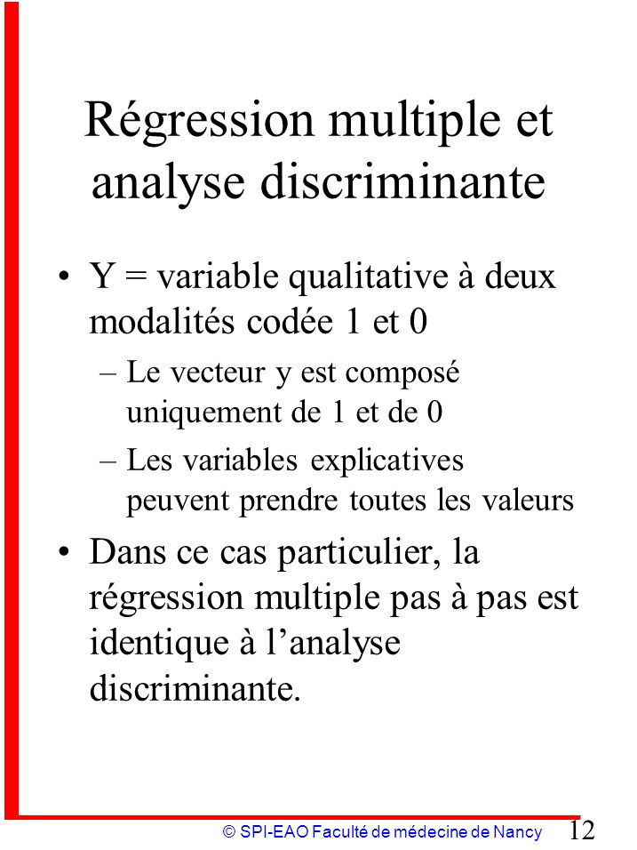 Régression multiple et analyse discriminante