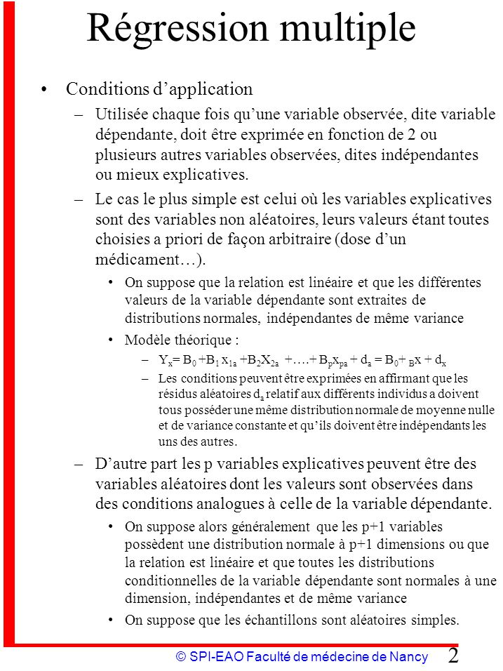 Régression multiple Conditions d'application