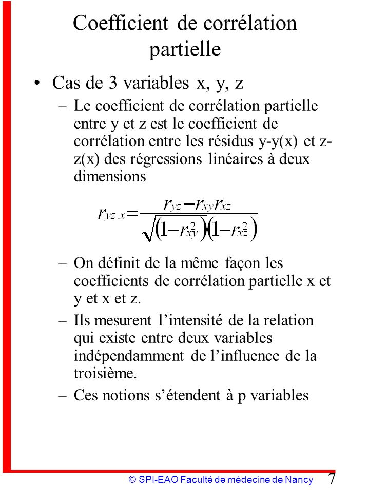 Coefficient de corrélation partielle