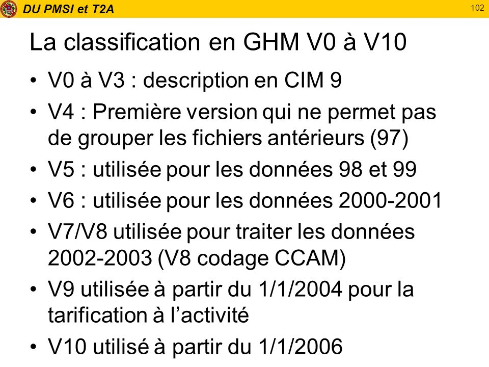 La classification en GHM V0 à V10