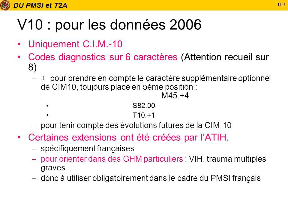 V10 : pour les données 2006 Uniquement C.I.M.-10