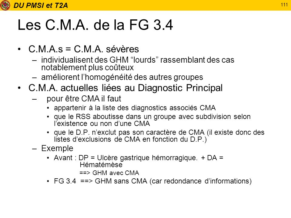 Les C.M.A. de la FG 3.4 C.M.A.s = C.M.A. sévères