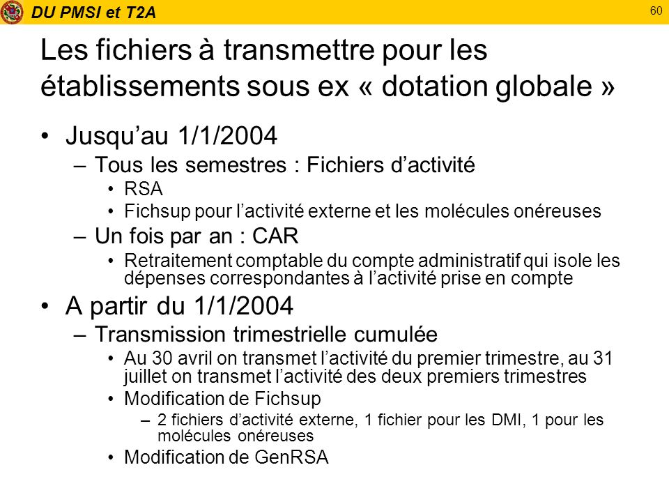Les fichiers à transmettre pour les établissements sous ex « dotation globale »