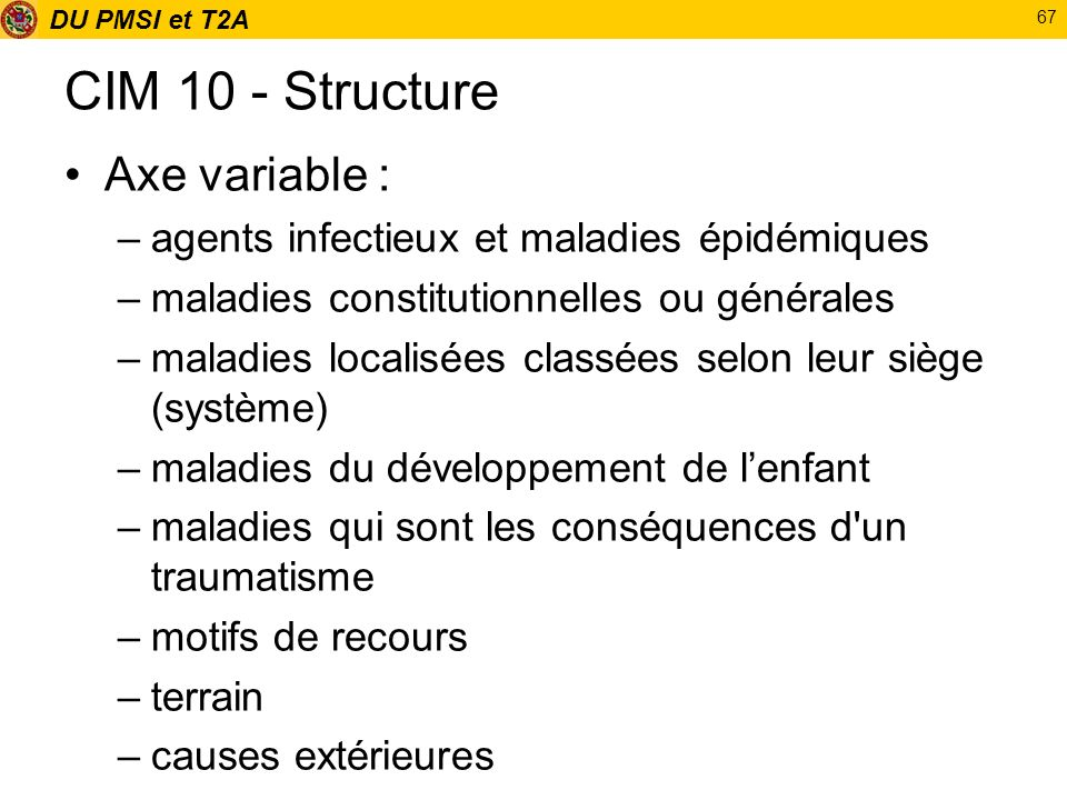 CIM 10 - Structure Axe variable :