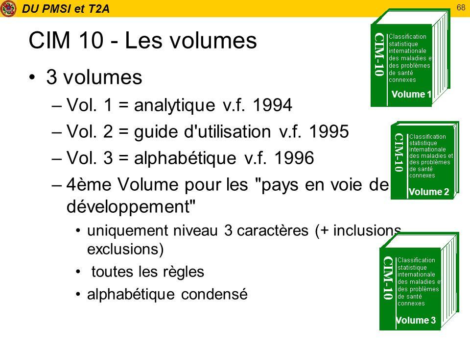 CIM 10 - Les volumes 3 volumes Vol. 1 = analytique v.f. 1994