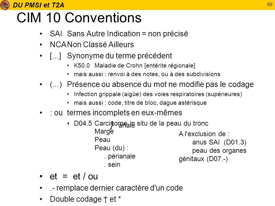 CIM 10 Conventions et = et / ou } anale