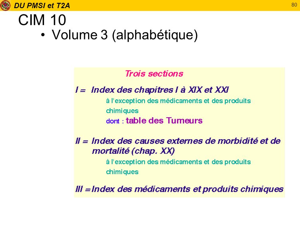 CIM 10 Volume 3 (alphabétique)