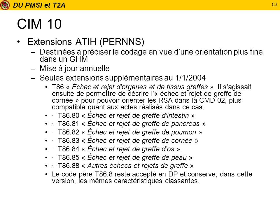 CIM 10 Extensions ATIH (PERNNS)